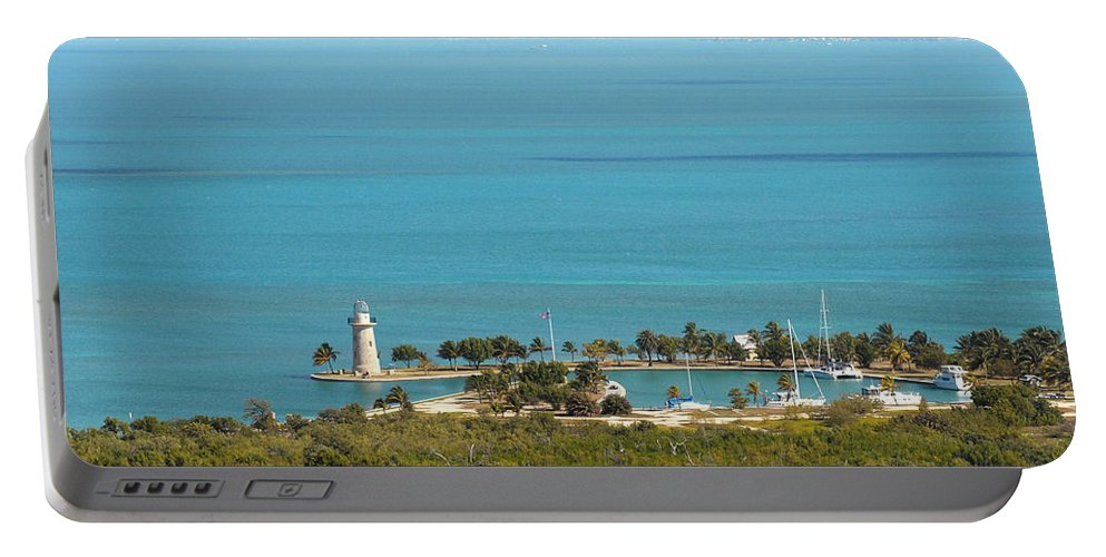 Boca Chita Portable Battery Charger featuring the photograph Boca Chita Lighthouse And Miami Skyline by Georgia Fowler