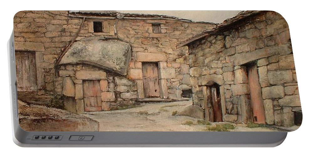 Fermoselle Portable Battery Charger featuring the painting Bodegas en Fermoselle by Tomas Castano