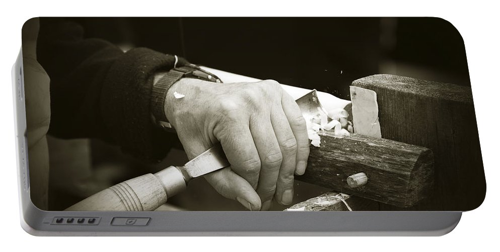 Bodger Portable Battery Charger featuring the photograph Bodger Bodging by Liz Leyden