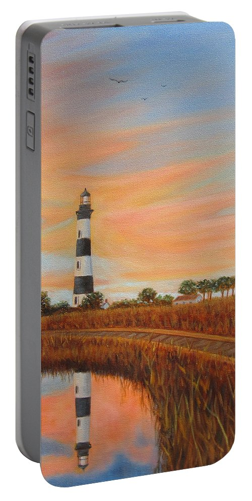 Bodie Island Portable Battery Charger featuring the painting Bodie Island Lighthouse by Fran Brooks