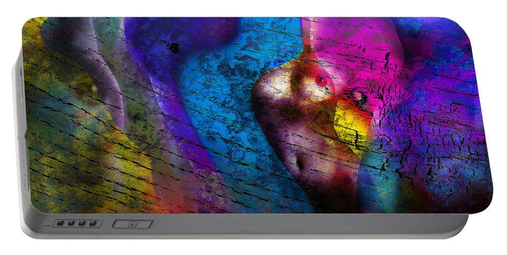 Abstract Portable Battery Charger featuring the photograph Bodies Colorful by Edmund Nagele