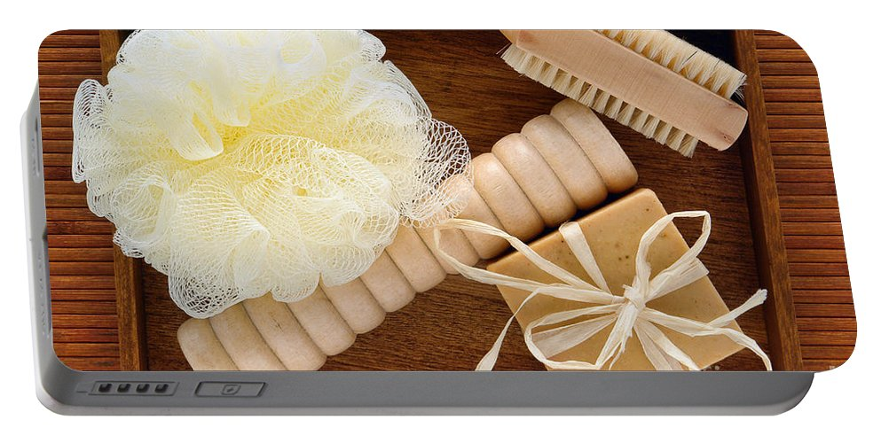 Spa Portable Battery Charger featuring the photograph Body Care Accessories In Wood Tray by Olivier Le Queinec