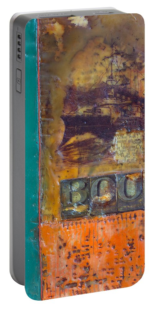 Book Encaustic Portable Battery Charger featuring the painting Book Cover Encaustic by Bellesouth Studio