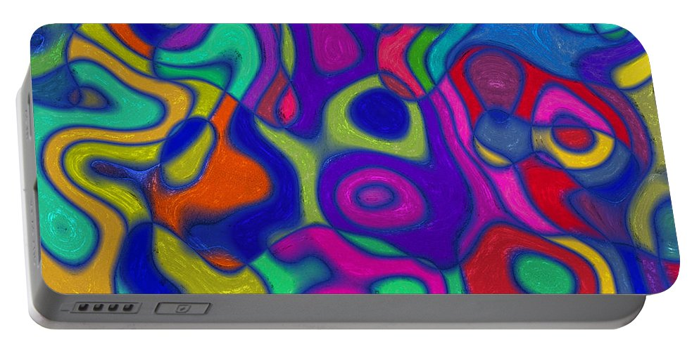 Romanovna Graphic Design Portable Battery Charger featuring the digital art Bold Blue Abstract Decor by Georgiana Romanovna
