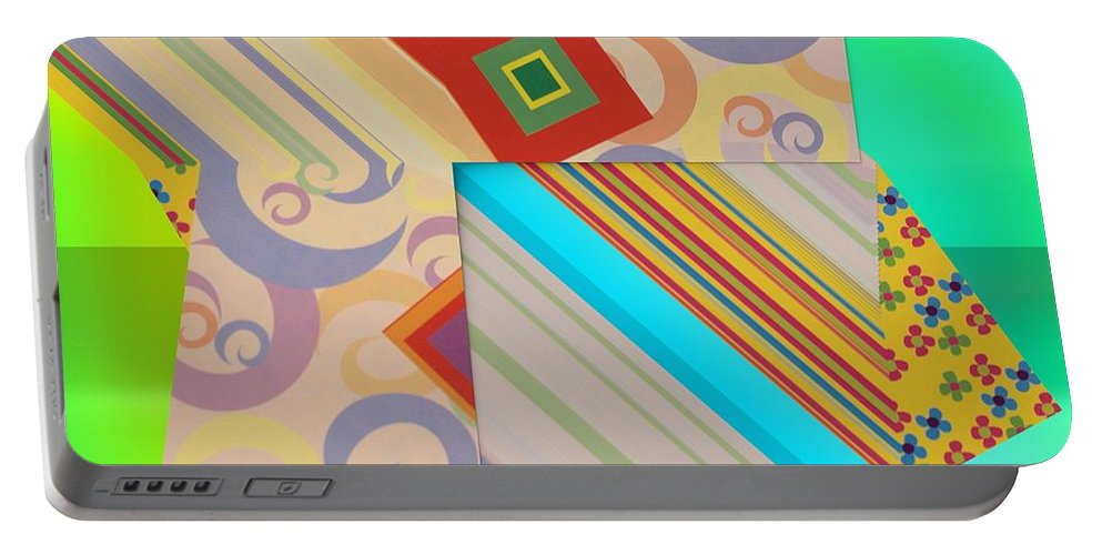 Bold Geometric Abstract Portable Battery Charger featuring the digital art Bold Geometric Abstract by Liane Wright