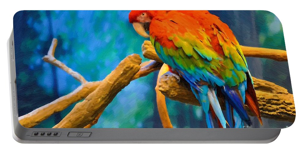 Bold Parrot Portable Battery Charger featuring the painting Bold Parrot by Liane Wright