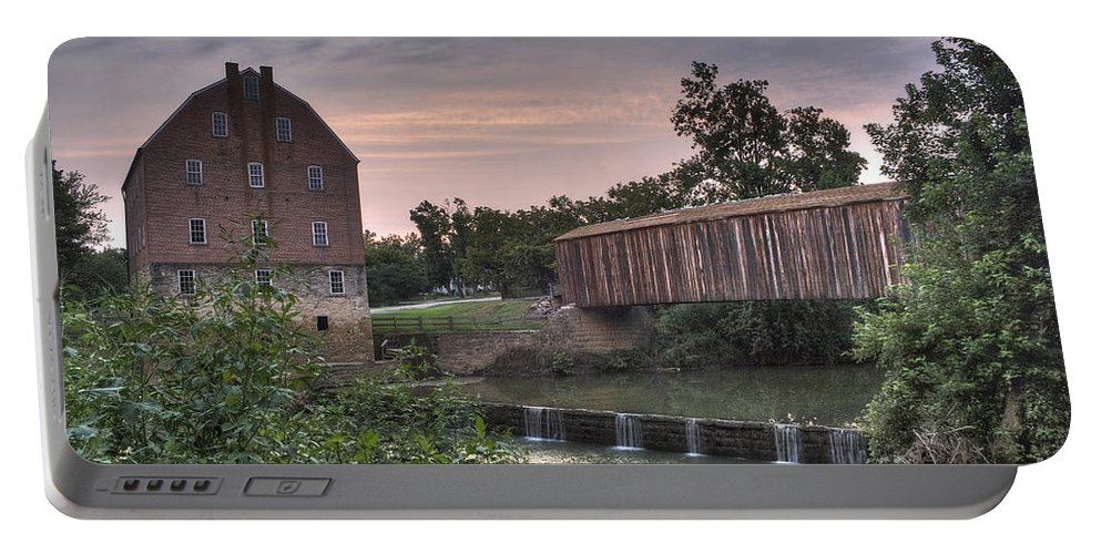 2008 Portable Battery Charger featuring the photograph Burfordville Mill by Larry Braun