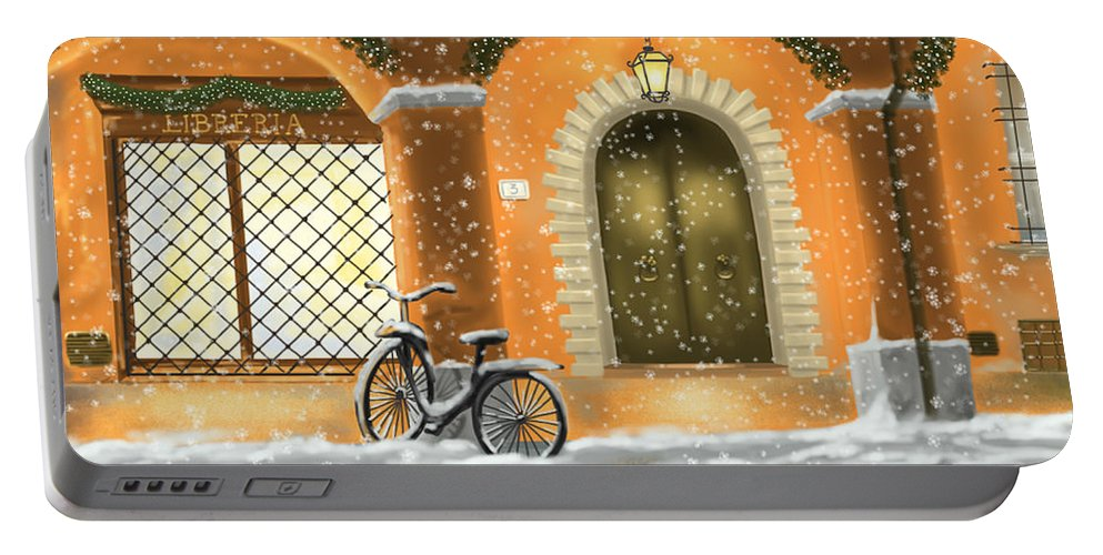 Red Portable Battery Charger featuring the painting Bologna by Veronica Minozzi