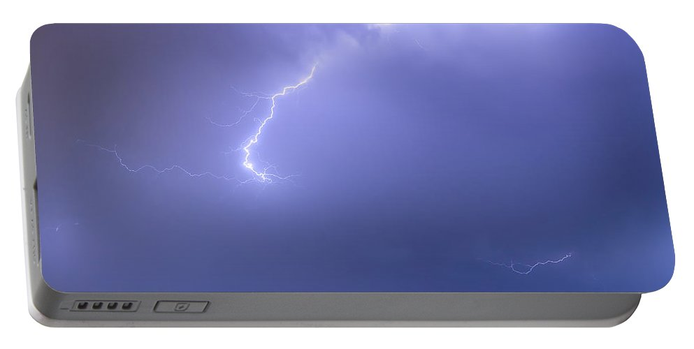 Lightning Portable Battery Charger featuring the photograph Bolts Of Lightning Arcing Through The Night Sky by James BO Insogna