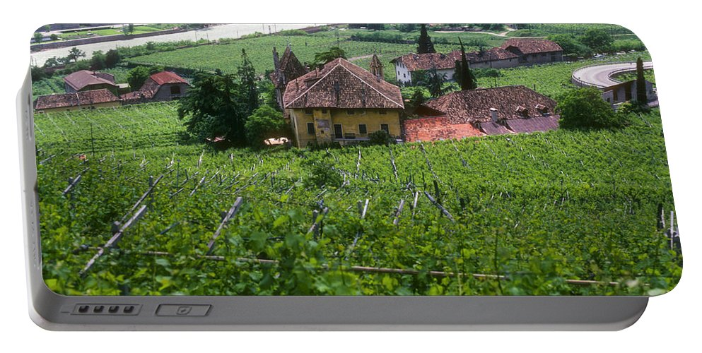 Bolzano Vineyard Vineyards Grape Vine Vines Isarco River Rivers Stream Streams Water Structure Structures Buildings Buildings Tree Trees Landscape Landscapes Italy Portable Battery Charger featuring the photograph Bolzano Vineyard by Bob Phillips