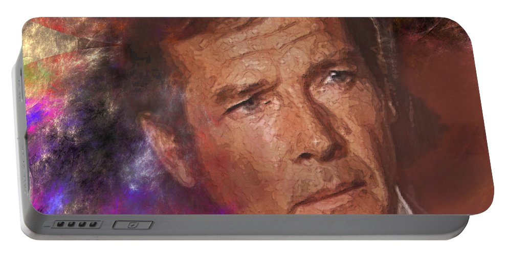 Bond Portable Battery Charger featuring the digital art Bond - James Bond 3 - Square Version by John Beck