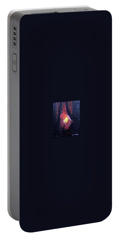 Landscape Portable Battery Charger featuring the painting Bonefire by Sergey Bezhinets