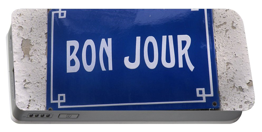 Bonjour Portable Battery Charger featuring the photograph Bonjour French Street Sign by Ros Drinkwater