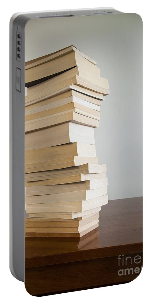 Book Portable Battery Charger featuring the photograph Book Stack On Table by Tim Hester