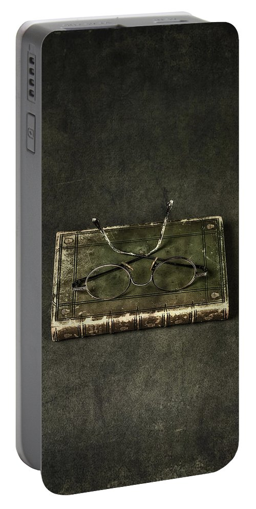 Book Portable Battery Charger featuring the photograph Book With Glasses by Joana Kruse
