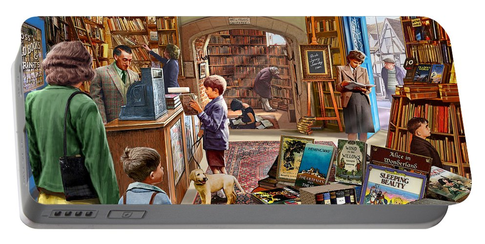Children Portable Battery Charger featuring the digital art Bookshop by MGL Meiklejohn Graphics Licensing
