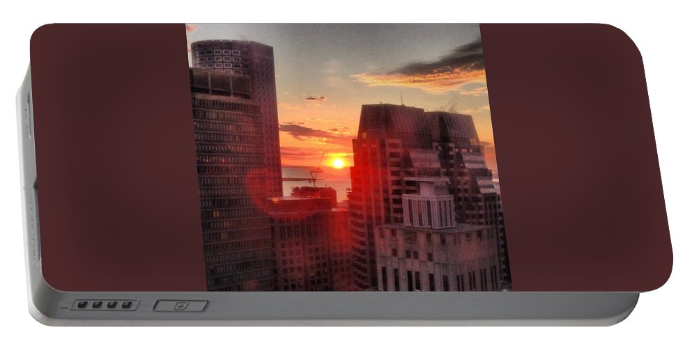 Instagram Portable Battery Charger featuring the photograph Boston At Dawn by Mark Valentine