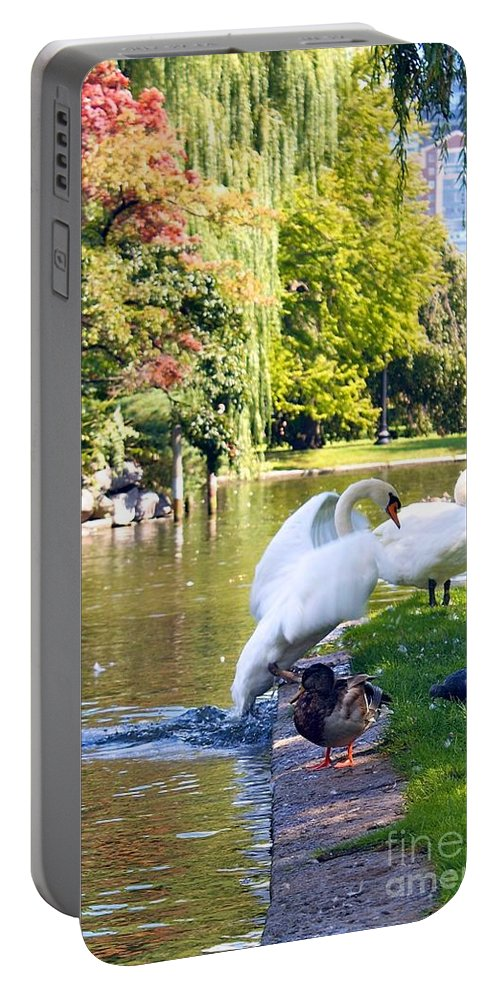 Boston Common Portable Battery Charger featuring the photograph Boston Common Swan Lake by Alanna DPhoto