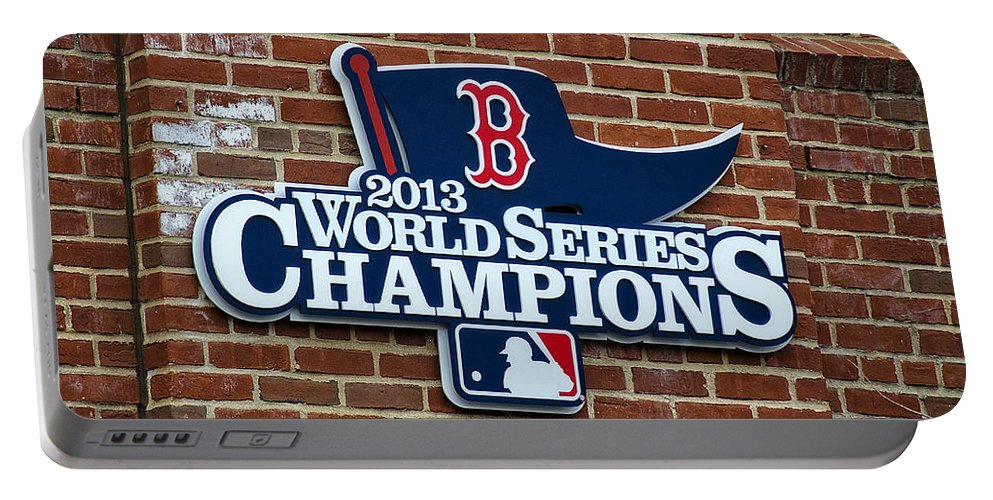 Ball Portable Battery Charger featuring the photograph Boston Red Sox World Champions by Donna Doherty