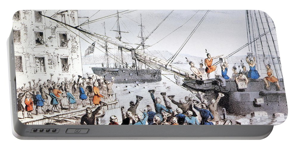1773 Portable Battery Charger featuring the photograph Boston Tea Party, 1773 by Granger