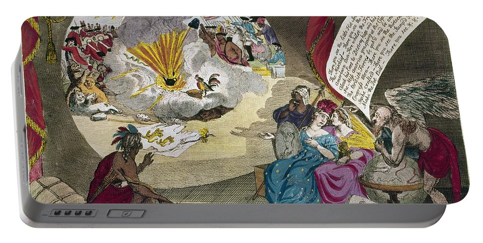 1783 Portable Battery Charger featuring the photograph Boston Tea Party Cartoon by Granger
