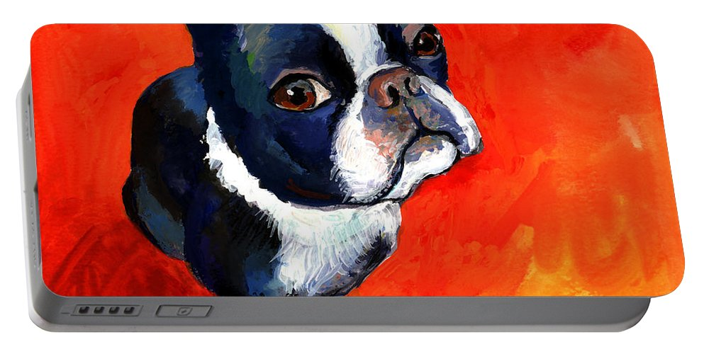 Boston Terrier Prints Portable Battery Charger featuring the painting Boston Terrier Dog Painting Prints by Svetlana Novikova