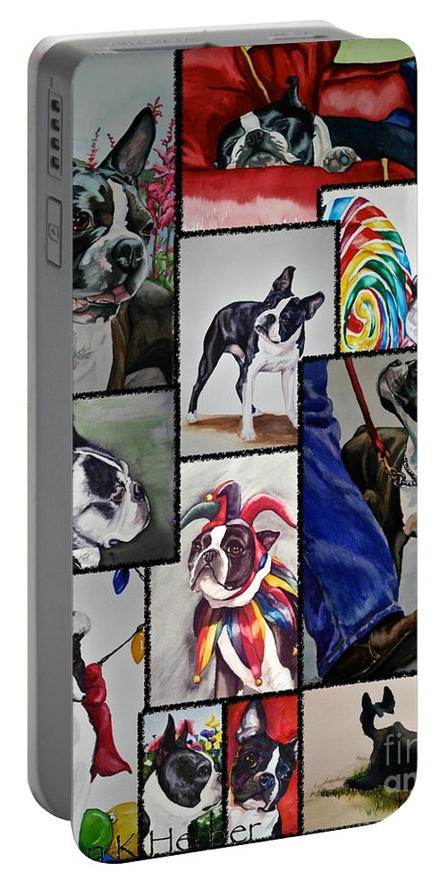 Animal Portable Battery Charger featuring the painting Boston Terrier Watercolor Collage by Susan Herber