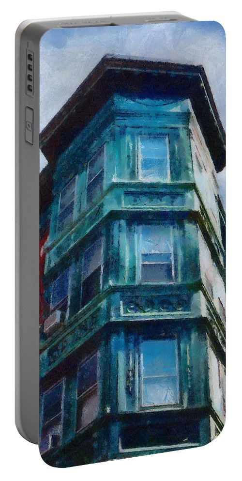 America Portable Battery Charger featuring the painting Boston's North End by Jeffrey Kolker