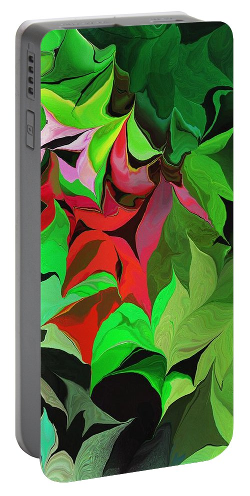 Abstract Portable Battery Charger featuring the digital art Botanical Fantasy 071613 by David Lane