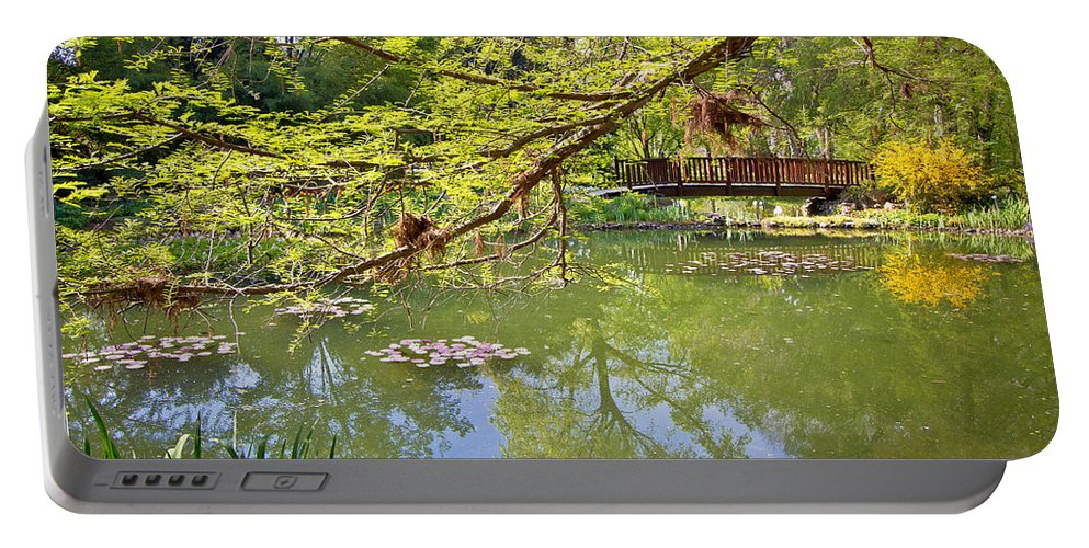 Attraction Portable Battery Charger featuring the photograph Botanical Garden Lake Spring View by Brch Photography