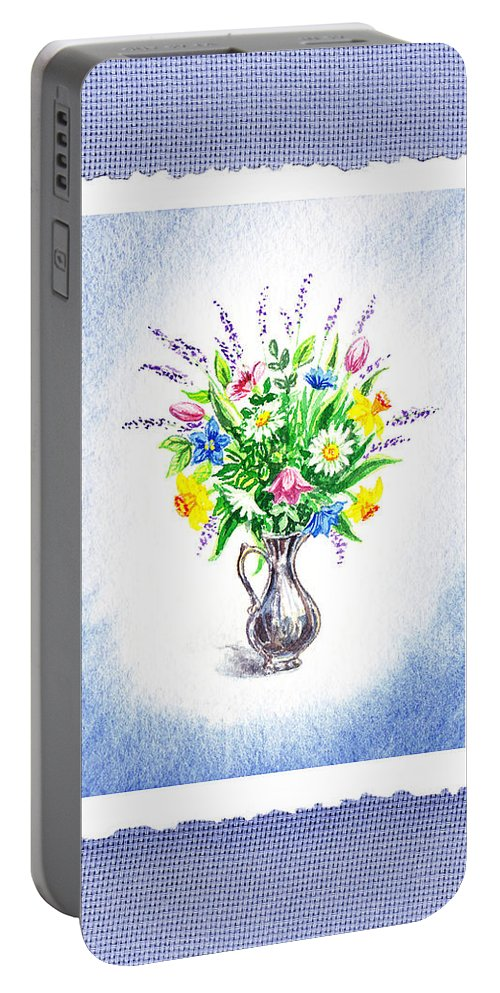 Blue Portable Battery Charger featuring the painting Botanical Impressionism Watercolor Bouquet by Irina Sztukowski
