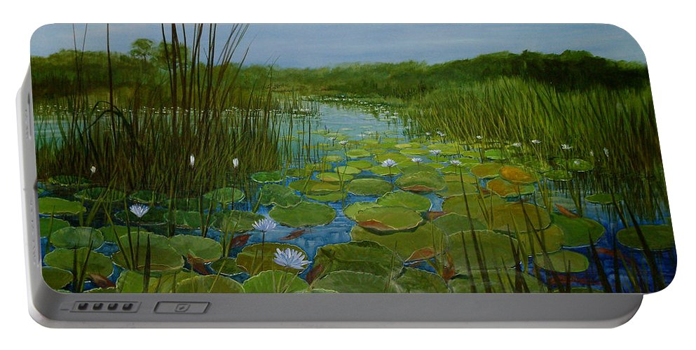 South Africa Portable Battery Charger featuring the painting Botswana Lagoon by Maryann Boysen