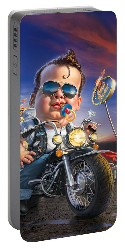 Baby Portable Battery Charger featuring the digital art Bottle Rocket Diner by Mark Fredrickson