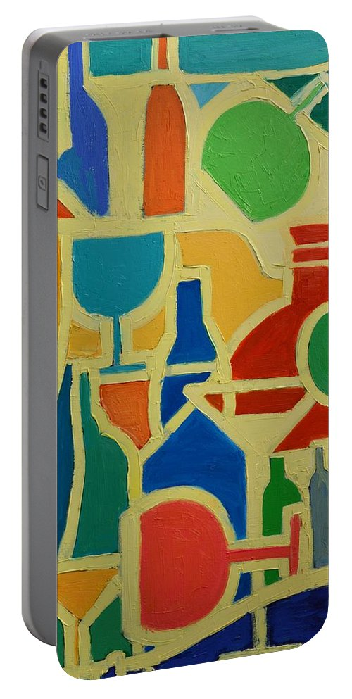 Abstracts Portable Battery Charger featuring the painting Bottles And Glasses 2 by Ana Maria Edulescu