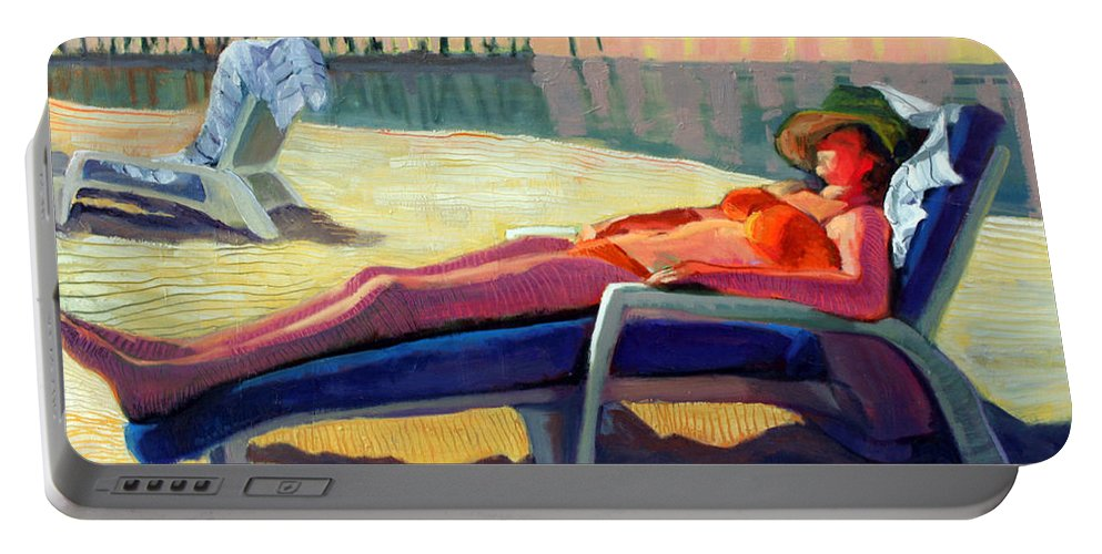 Beach Portable Battery Charger featuring the painting Bottoms Down by Leslie Rock