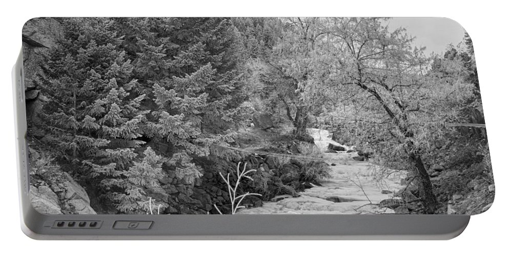 Winter Portable Battery Charger featuring the photograph Boulder Creek Winter Wonderland Black And White by James BO Insogna