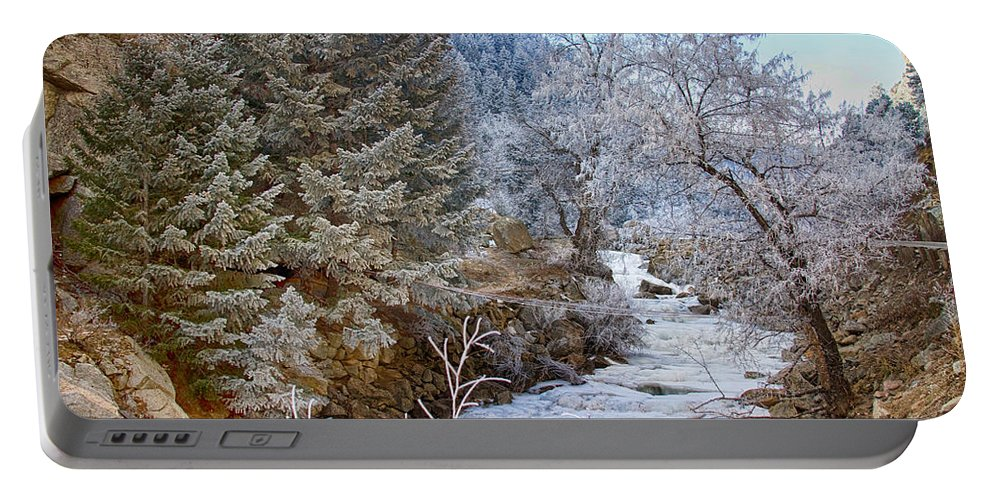 Winter Portable Battery Charger featuring the photograph Boulder Creek Winter Wonderland by James BO Insogna