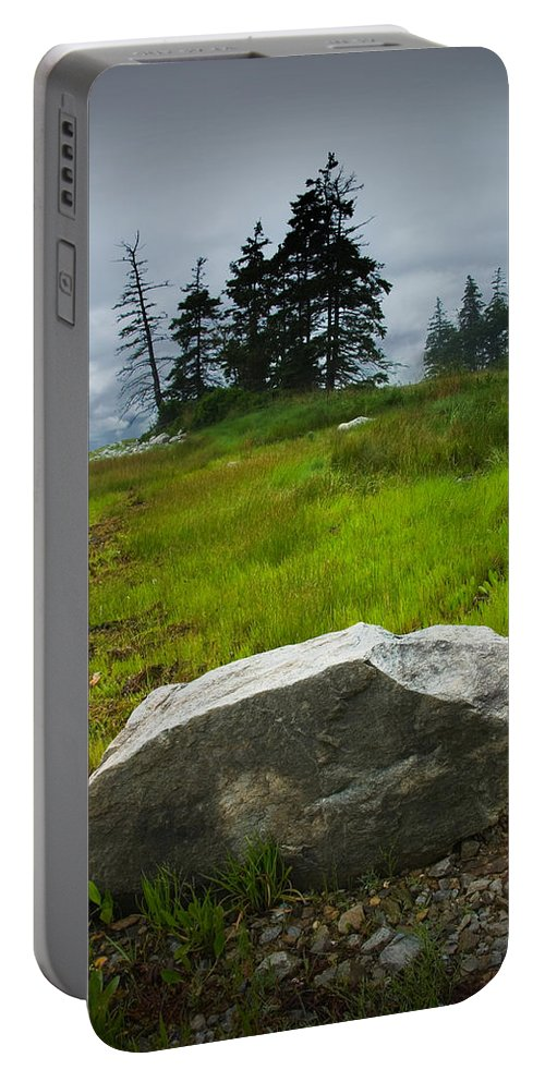 Art Portable Battery Charger featuring the photograph Boulder On The Shore At The Mount Desert Narrows In Maine by Randall Nyhof