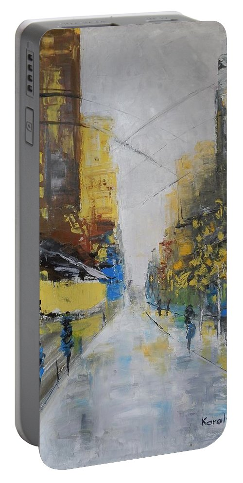 Boulevard Portable Battery Charger featuring the painting Boulevard by Maria Karalyos
