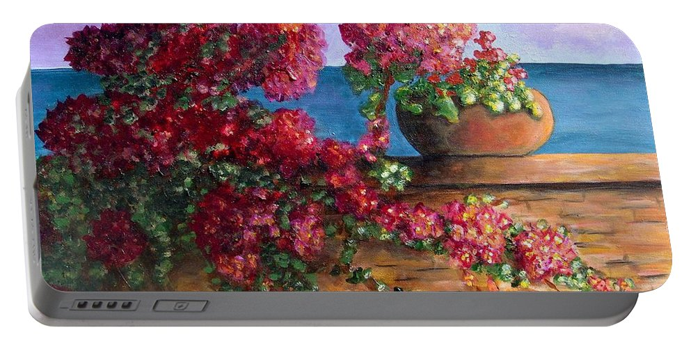 Bougainvillea Portable Battery Charger featuring the painting Bountiful Bougainvillea by Laurie Morgan