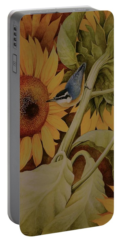Birds Portable Battery Charger featuring the painting Bountiful Harvest by Charles Owens
