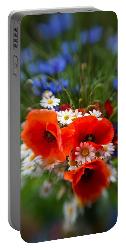 Bouquet Portable Battery Charger featuring the photograph Bouquet Of Fresh Poppies Camomiles And Cornflowers by Jaroslaw Blaminsky