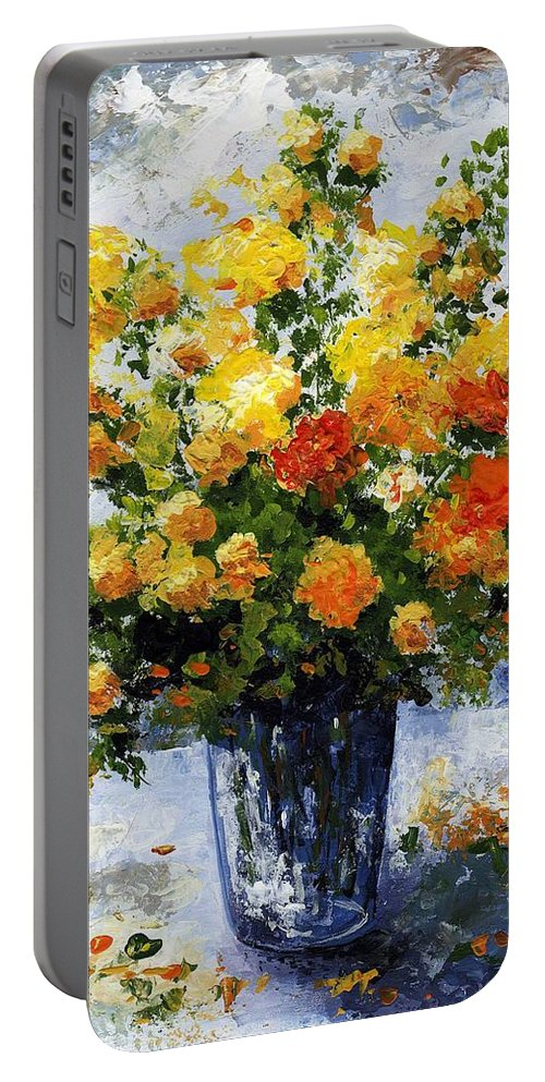 Art Portable Battery Charger featuring the painting Bouquet D'estate 035 by Voros Edit