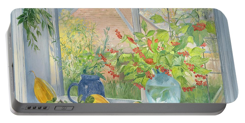 Redcurrants; Vase; Berries Portable Battery Charger featuring the painting Bouquet Garnie by Timothy Easton