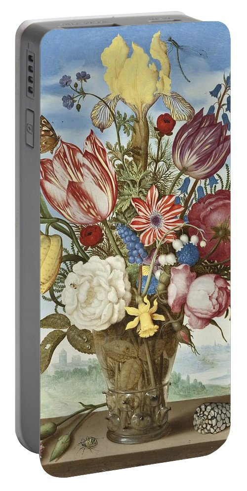 Bouquet Of Flowers On A Ledge Portable Battery Charger featuring the digital art Bouquet Of Flowers On A Ledge by Ambrosius Bosschaert the Elder