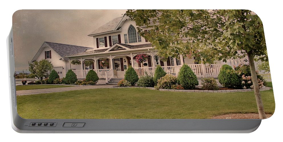 Colonial House Portable Battery Charger featuring the photograph Bourbeau Custom Homes by Deborah Benoit