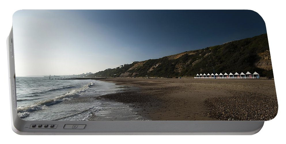 Autumn Portable Battery Charger featuring the photograph Bournemouth Beach Huts by Anne Gilbert