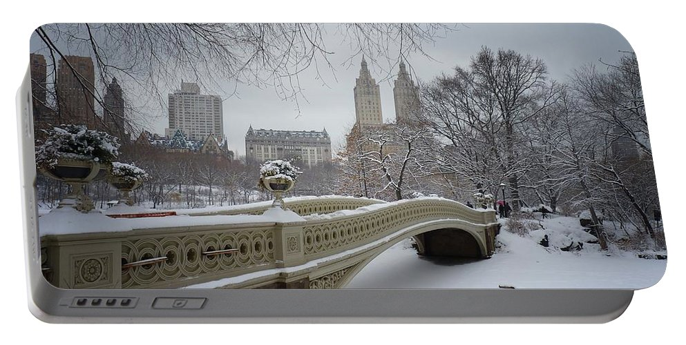 Landscape Portable Battery Charger featuring the photograph Bow Bridge Central Park in Winter by Vivienne Gucwa