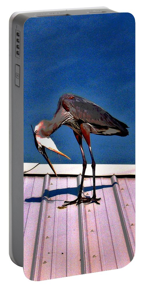 Heron Portable Battery Charger featuring the photograph Bowing Blue Heron by Marian Bell