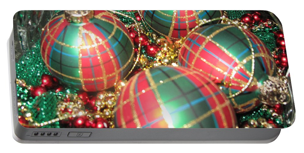 Ornaments Portable Battery Charger featuring the photograph Bowl Of Christmas Colors by Barbara McDevitt
